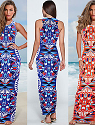 HHH Women's Vintage/Beach/Casual/Print/Party Round Sleeveless Dresses (Cotton Blend/Polyester)