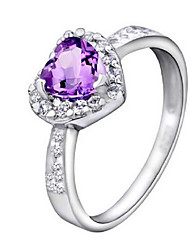 Volcano High-end Natural Heart-shaped Violet Crystal Ring Female Aesthetic Joker 925 Silver Ring SR0100A Promise Gift