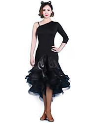Robes ( Noire/Rouge/Imprimé léopard , Fibre de Lait , Danse latine/Jazz/Spectacle/Salle de bal/Samba )Danse latine/Jazz/Spectacle/Salle