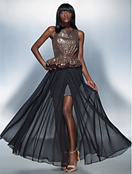 Formal Evening Dress - Black Plus Sizes / Petite Sheath/Column Scoop Floor-length Chiffon / Sequined