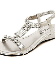 Women's Shoes Flat Heel Round Toe Sandals Casual Black/Silver/Gold