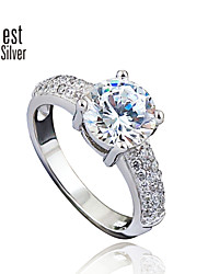 925 Sterling Silver Diamond Ring for Women South Korea Circular Diamond Engagement Ring J052