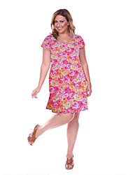 Women's Large Size Floral  Dress Big Size Print Knee Dress Club Dress