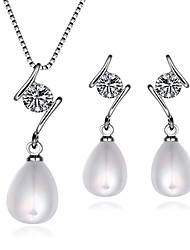 Platinum Plated diamond Water drop colorful pearls jewelry set for women party necklace/earring Bridal Jewelry Sets S045