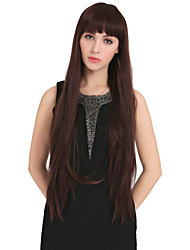 Fashion Long Straight Chocolate Wig With Full Bang