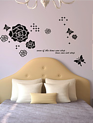 Flower And Butterfly Dancing Wall Sticker