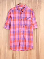 Men's Short Sleeve Shirt , Cotton Casual/Work/Sport Print
