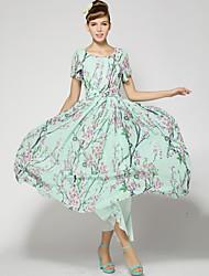Women's Casual/Maxi Inelastic Short Sleeve Maxi Dress (Chiffon)
