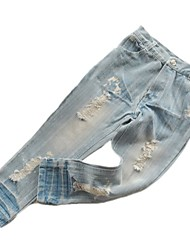 Boys' All Match Jeans Fashion Hole Denim Pants (Denim)