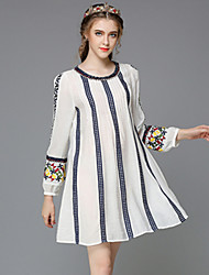 automne aofuli cru Brodé ethnique des femmes élégantes de bande patchwork pleat taille plus lâche casual / partie robe de travail /