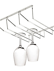 Stainless Steel Hanging Wine Glass Rack Holder Goblet Wine Cup Storage Rack (Three Row)