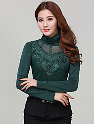 Women's Solid Black/Green Blouse , Casual/Lace Turtleneck Long Sleeve Lace