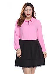 Prettyshow 2015 Autumn New style Women Plus Size XL-5XL Turn-down Collar Full Sleeve Chiffon Slimming Clothes QA3CC0180