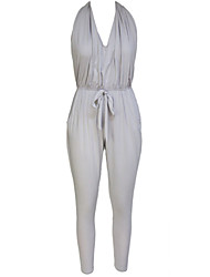 Women's Backless Pocket Design Harem Jumpsuit