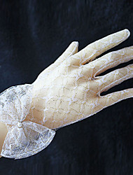 Lace Wrist Length Fingertip Wedding Evening Gloves  with Bow