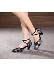 Women's Dance Shoes Belly/Latin/Samba Velvet/Sparkling Glitter/Paillette/Synthetic Cuban Heel Black/Blue/Silver/Other