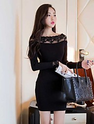 Women's Vintage/Sexy/Bodycon/Casual/Lace/Party/Work Micro-elastic Long Sleeve Mini Dress (Lace/Cotton)