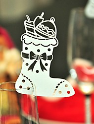 12pcs Stocking Wine Glass Card Escort Cup Card Table Name Number Place Card for Christmas Party Window Decorations