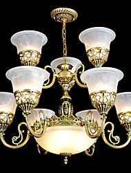 Chandelier ,  Traditional/Classic Vintage Retro Bronze Feature for Candle Style Metal Living Room Dining Room Study Room/Office Hallway