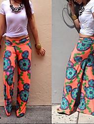 Pantalones ( Poliéster )- Sexy/Playa/Casual/Impresión Mujer