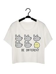 Damen Solide Street Schick / Aktiv Lässig/Alltäglich T-shirt,Rundhalsausschnitt Sommer Kurzarm Weiß Polyester Mittel