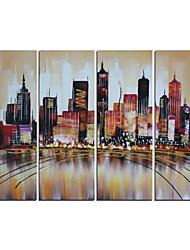 pintura abstrata pintados à mão marrom moderno paisagem urbana óleo sobre tela 4pcs / set (sem moldura)