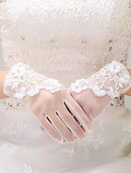 Ivory Tulle Appliques Wrist Length Fingertips Wedding Gloves with Tiny Flowers