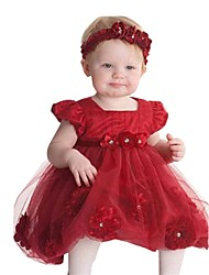 Girl Cotton Blend Dress , Summer Short Sleeve