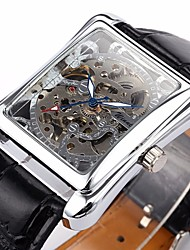 WINNER® Men's Auto-Mechanical Square Skeleton Watch PU Leather Band Wrist Watch Cool Watch Unique Watch