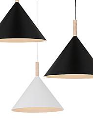Mini Artistic Cone Pendant Lamp/1 Light/Mordern Simplicity/Finish Black/White Aluminum & Wooden Droplight
