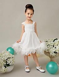 Flower Girl Dress Tea-length Tulle/Velet Chiffon Ball Gown Sleeveless Dress