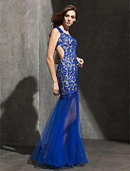 Fit & Flare Sweetheart Floor Length Lace Tulle Prom Formal Evening Dress with Lace by TS Couture®