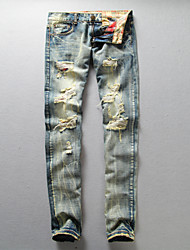 WHAT LEES Fashion cat whisker hole jeans