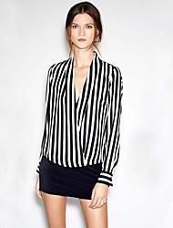 Women's Sexy Casual Cute Inelastic Long Sleeve Regular Blouse (Chiffon)