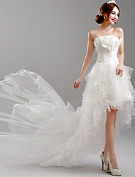 A-line Wedding Dress Little White Dress Asymmetrical Strapless Tulle with Flower Tiered