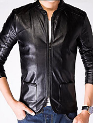 Men's Casual Long Sleeve Leather Tops