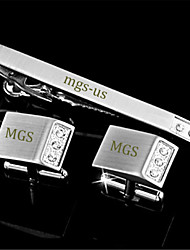 Personalized Gift Men's Engravable Silver Plain Rhines Tone Pattern Cufflinks and Tie Bar Clip Clasp(1 Set)