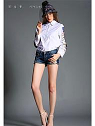 Women's Print White/Black Shirt , Stand Long Sleeve Beaded
