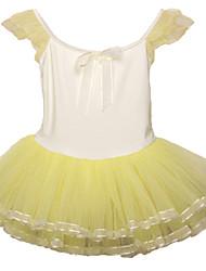 3~7Y Children Girls Pink/Blue/Yellow One-Piece Ballet Tutu Dress/Leotard/Gymnastics Dancing Dress with Micro-Elastic Top