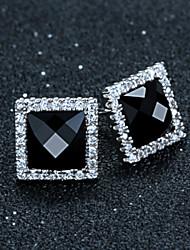 Sterling Silver Jewelry Sterling Silver earrings earrings Korean Square high-grade Black Agate Earrings
