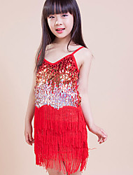 Latin Dance Dresses Children's Performance / Training Polyester Sequins / Tassel(s) 1 Piece Red Latin Dance Lace-upSpring, Fall, Winter,