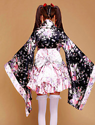 Outfits Maid Suits Wa Lolita Japaness Kimono Princess Cosplay Lolita Dress Pink Patchwork Floral Poet Long Sleeve Short LengthKimono Coat Skirt Bow