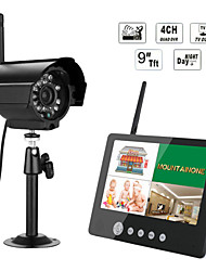 ENNIO 7 inch TFT Digital 2.4G Wireless Cameras Audio Video  Monitors 4CH Quad DVR Security System With IR Night Light