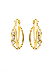 Women's 18K Gold Plating Unique Inlay Zircon Earrings