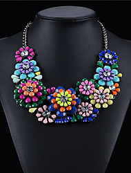 Zinc Alloy Plated With Big Flower Cubic Zirconia Fashion Necklace