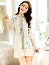 Women's Casual Micro-elastic Thin ½ Length Sleeve Cardigan (Lace/Knitwear) SF7B84