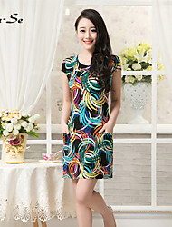 Women's Bodycon/Print/Plus Sizes Micro-elastic Short Sleeve Above Knee Slim Dress (Chiffon/Polyester/Nylon)