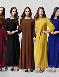 Women's Round Dresses , Chiffon Vintage/Casual Long Sleeve SASA