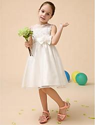 Flower Girl Dress Tea-length Satin/Tulle Ball Gown Sleeveless Dress(Headpiece Not Include)