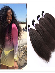 """3pcs / lot 8 """"-34"""" brasileira da trama do cabelo virgem Kinky em linha reta tecelagem # 1b 300g de cabelo humano reto extensão do cabelo"""